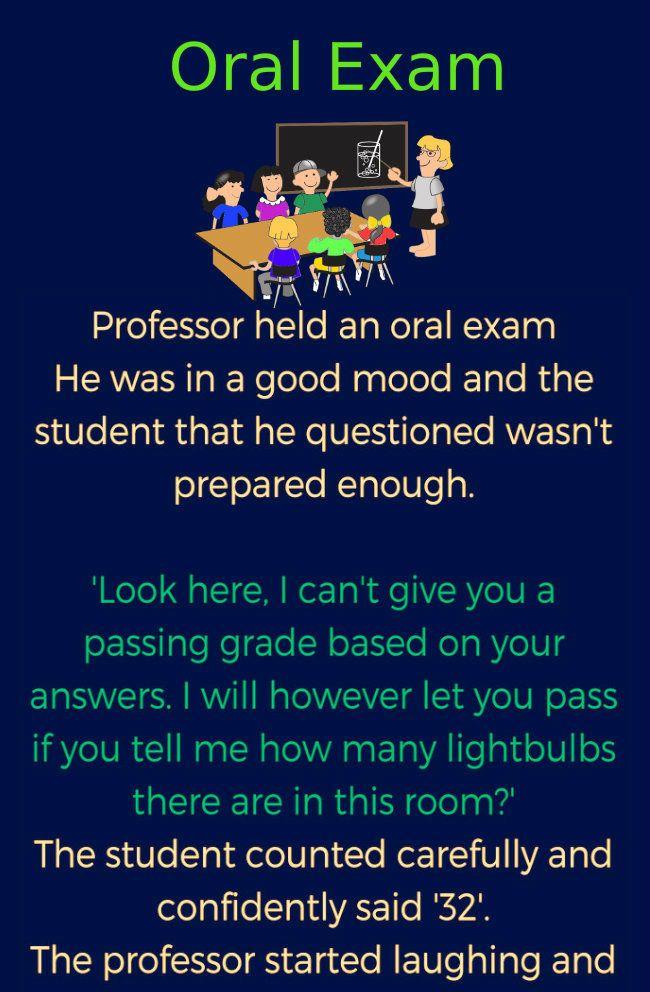 Funny Jokes Professor Held An Oral Exam Exams Funny