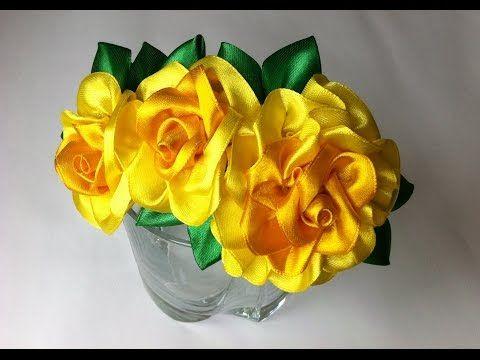 Украшение на ободок Канзаши / Лимонные розы - YouTube