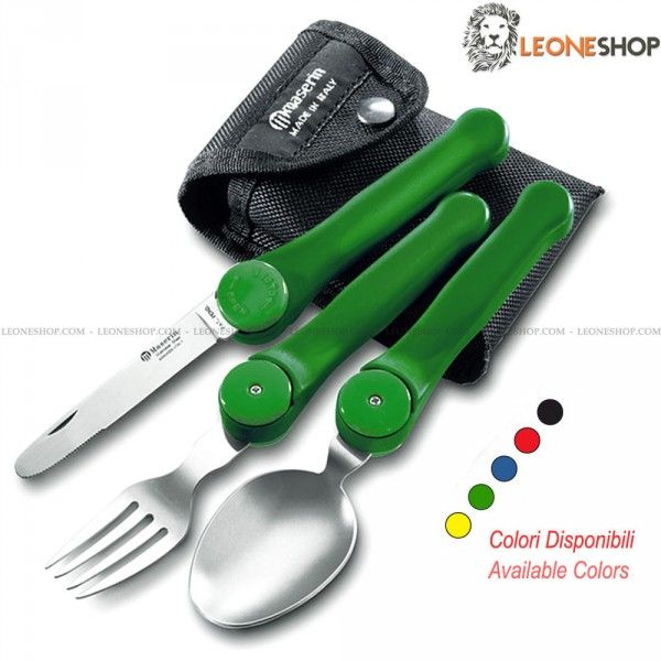 "MASERIN Folding Tableware Camping Set 941, survival, camping and outdoor accessories, camping set with three camping tableware in stainless steel of high quality consisting in spoon, fork and serrated table knife - Lenght of utensils 3"" - Colored Nylon handle - Available in Black, Red, Blue, Green and Yellow - Easily to disassemble to guarantee cleanness - Overall lenght 6.9"" - Supplied with an elegant nylon sheath - MASERIN camping survival set really exceptional with quality materials...."