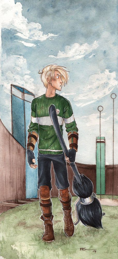 Quidditch Draco by CaptBexx.deviantart.com i dont like harry potter but this art is just amazing some much details in his hair and face