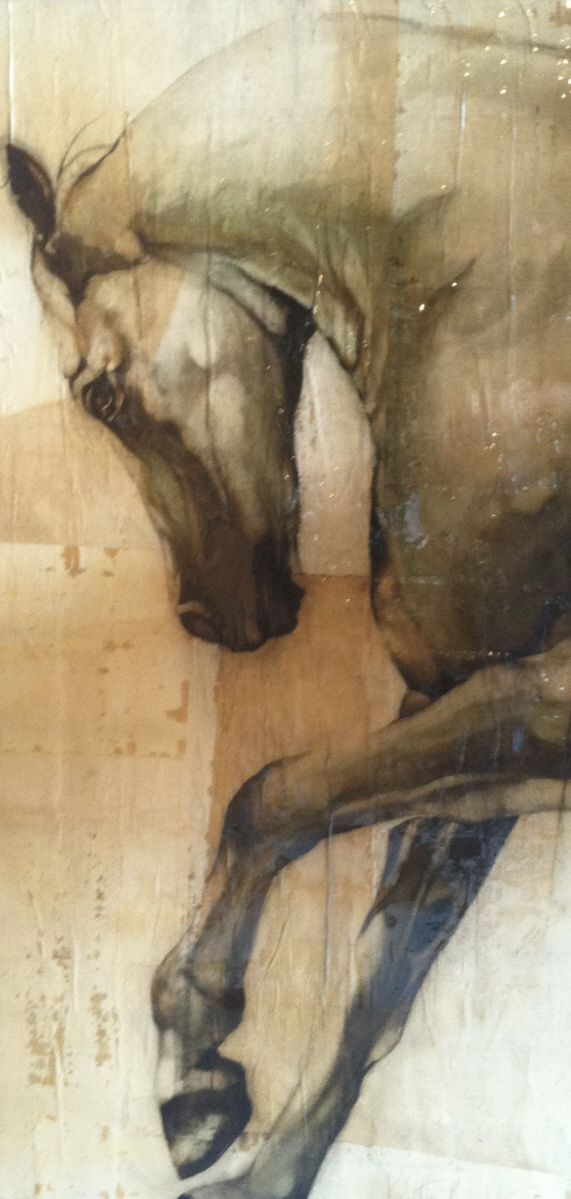 "Q 24"" X 48"" Mixed Media/Oil on Board Kristin Knight Equine Art"