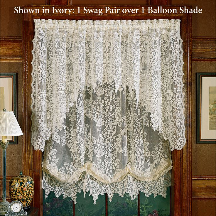White Lace Swag Curtains | Home Wisteria Balloon Shade 56 X 63