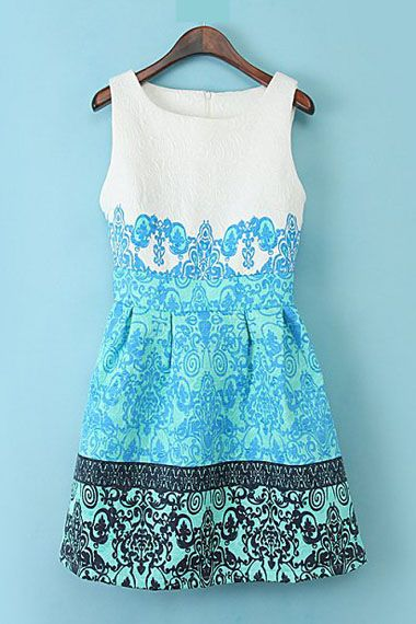 Floral Printing Sleeveless Fashion Dress