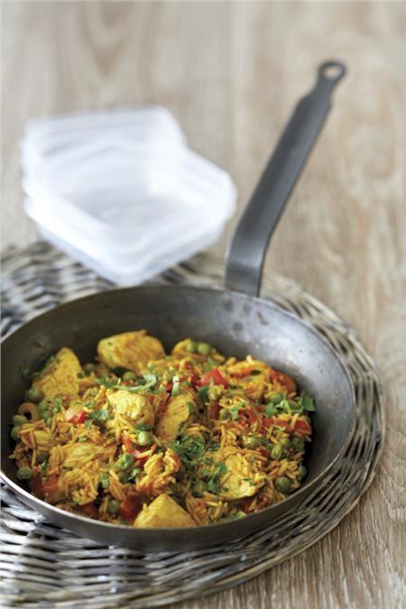 Κοτόπουλο με ρύζι και λαχανικά στο τηγάνι