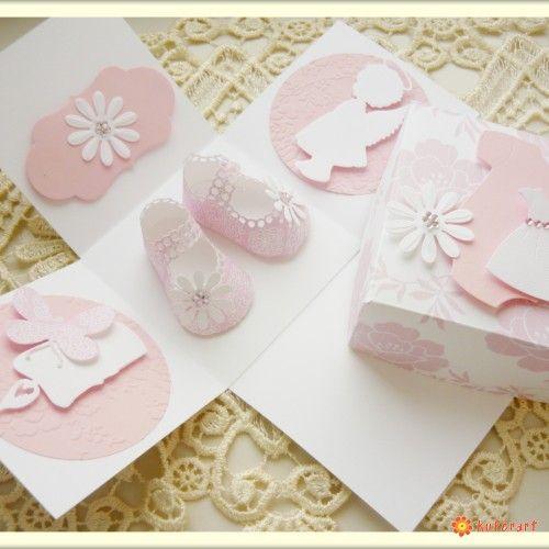 Exploding box, kartka dla dziecka chrzest - Kartki hand made - Papier