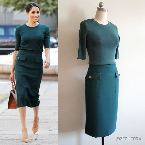 Meghan Markle Green Knit Ensemble/ Fitted Dress/ Office/ 2