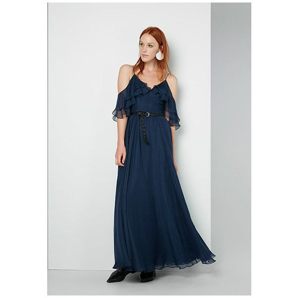 Navy Blue Sisilia Dress ($249) ❤ liked on Polyvore featuring dresses, gowns, navy, cutout maxi dresses, maxi dresses, chiffon prom dresses, navy blue prom dresses and sleeved prom dresses
