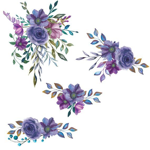 Watercolor Flower Clipart Purple Bouquet Clipart W Bouquet Etsy