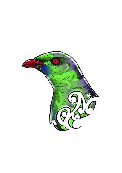 Joel Nicholls Kura Gallery Maori Art Design New Zealand Aotearoa Printmaker Digital Woodpigeon Kereru