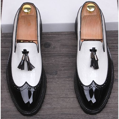 Modern Vintage Black and White Wedding Prom Dress Brogue Shoes Men SKU-1100036