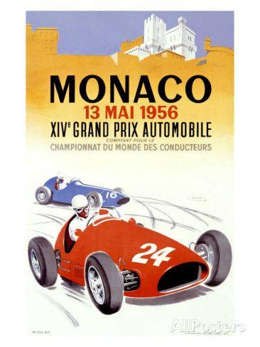 Grand Prix de Monaco, 1956 reproduction procédé giclée par J. Ramel sur AllPosters.fr