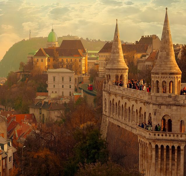 The Halászbástya or Fisherman's Bastion is a terrace in neo-Gothic and neo-Romanesque style situated on the Buda bank of the Danube, on the Castle hill in Budapest, around Matthias Church. It was designed and built between 1895 and 1902 on the plans of Frigyes Schulek.