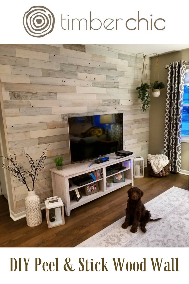 Looking To Create The Perfect Accent Wall Try Timberchic Simply Peel Stick Timberchic Plank Accent Walls In Living Room Wood Panel Walls Stick On Wood Wall