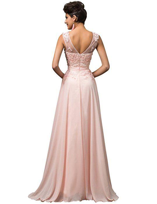 Lea Rosa Damen Abendkleid Königin der Nacht Hellrosa Gr. 32