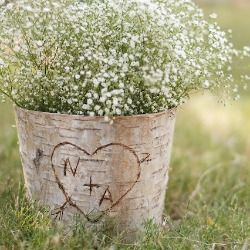 Simple, inexpensive DIY tutorial for making carved initials birch bark vases.  Perfect for a rustic touch at a wedding.