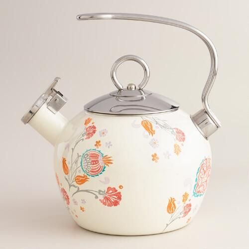 One of my favorite discoveries at WorldMarket.com: Floral Enamel on Steel Whistling Tea Kettle