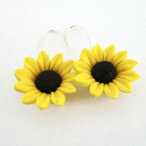 Sunflower Earrings Polymer Clay Fimo Yellow. £4.00, via Etsy.
