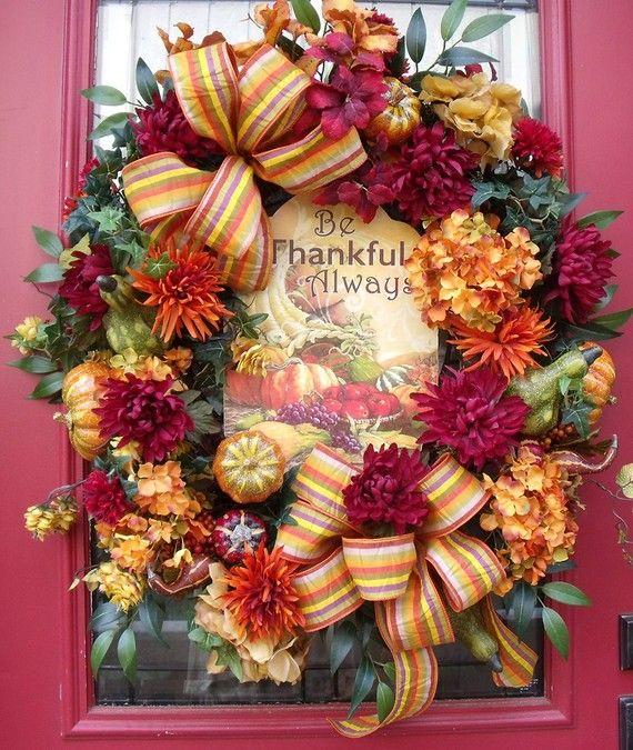 Fall Wreath Autumn Front Door Outdoor Thanksgiving Pumpkin Gourd Be Thankful