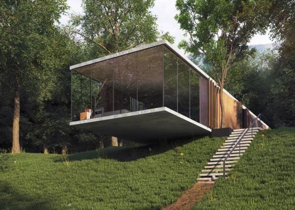 Ein Zimmer Glashaus Design mit perfekter Balance am Hang gebaut