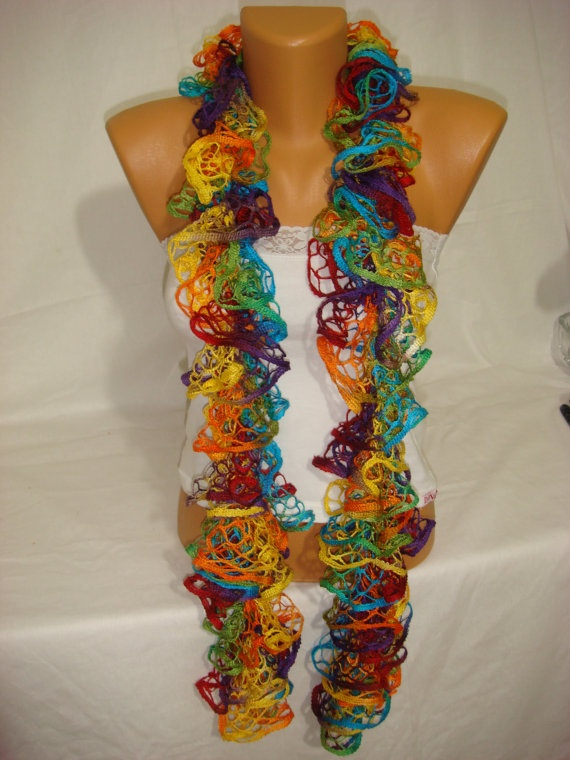 Hand knitted colorful ruffled scarf by ARZUS by Arzus on Etsy, $18.90: Hands Knits, Color Ruffles, Knits Color, Ruffles Scarfs, Etsy, Colorful, 18 90 Knits, Arzus, Bday Gifts