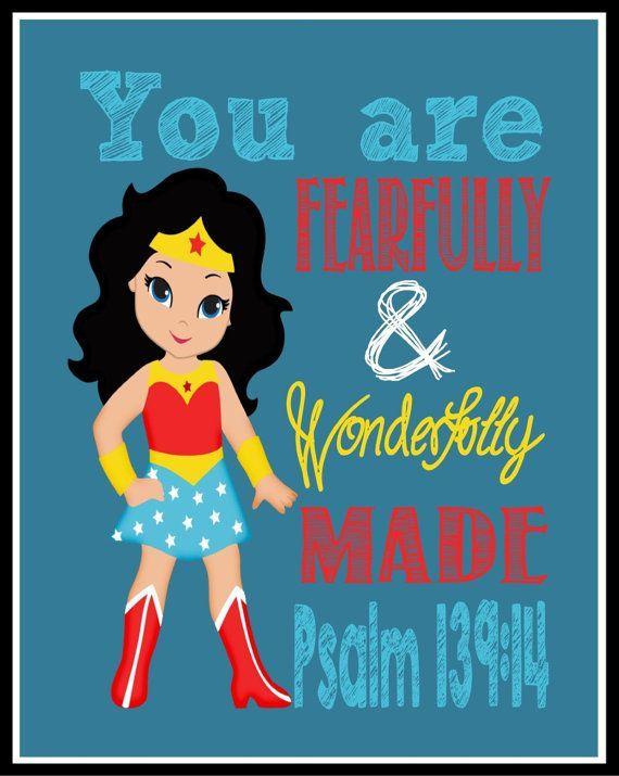 Wonder Woman Superhero Wall Art - Christian Nursery Decor - Fearfully & wonderfully Made - Psalm 119:14 Bible Verse - 8x10 Instant Download #affiliate