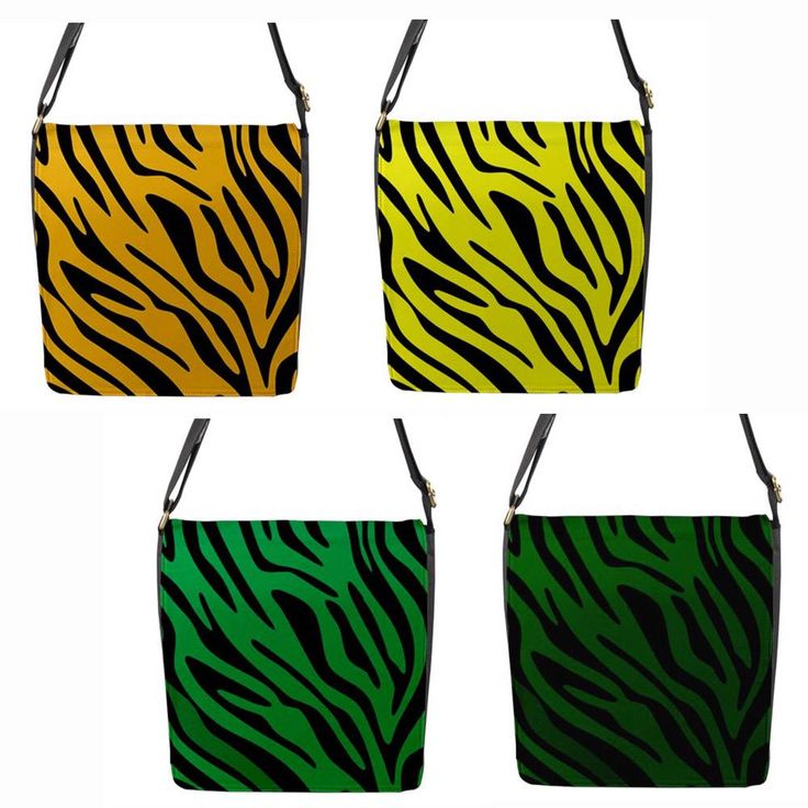 Yellow or Green Zebra Stripe Chameleon Removable Flap Shoulder Bag (Petite)