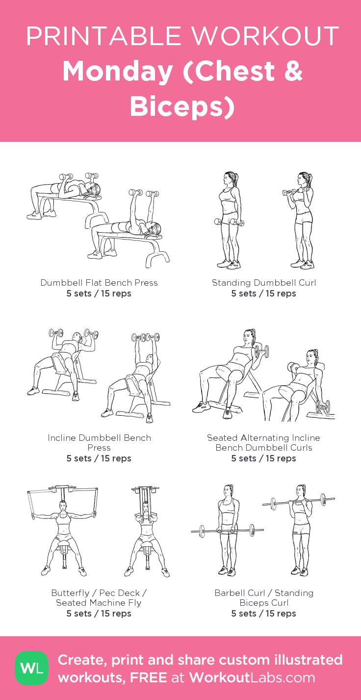 Monday (Chest & Biceps) –my custom workout created at WorkoutLabs.com • Click through to download as printable PDF! #customworkout