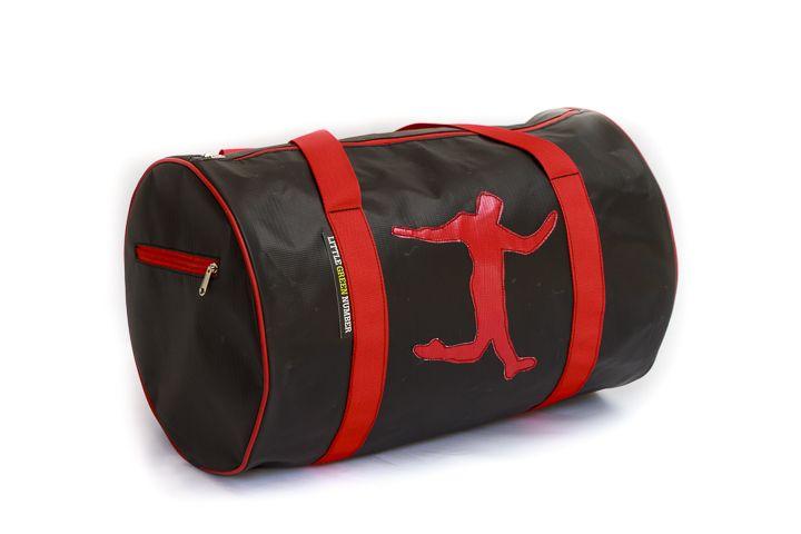 Black messenger bag with soccer player