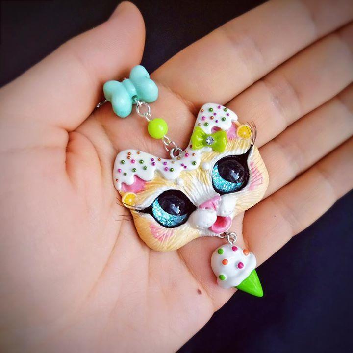 Sweet Kawaii style Lolita Fashion Lime Ice Cream Kitty Cat Polymer Clay Pendant OOAK handmade jewelry by FleurDeLapin
