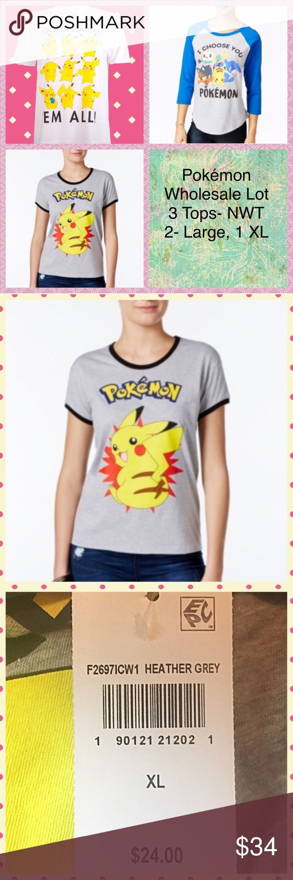 ⚡️ Pokémon Tees Wholesale 3pc Lot ⚡️ Pokémon Wholesale 3pc Lot  • View original listings for more pictures & individual descriptions  • Limited time offer until listings starts to sell (I am very active, so if this is posted then It's available)  3 Junior sizing Women's top, all Pokémon themed • 2 Large • 1 XL  Brand New with Tags, no defects or wear  MSRP: $24 each, $72 total + tax  • I welcome Bundles & Offers • smoke & Pet Free Home • fast shipping • 100s of love notes, great ratings, & 5…
