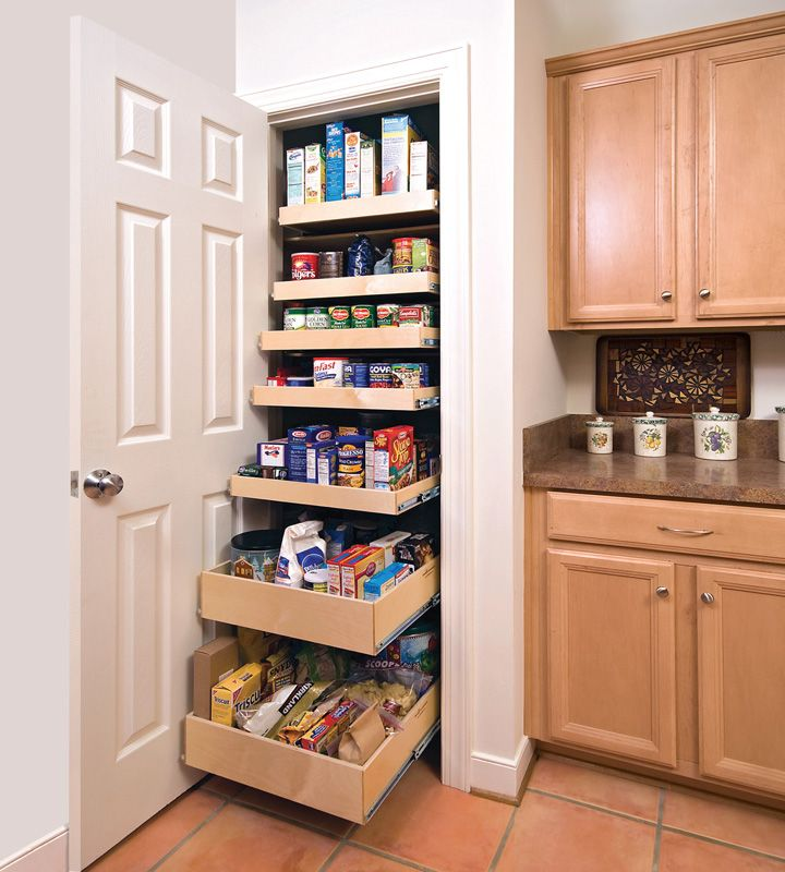 White Concrete Kitchen Pantry Cabinet With 7 Pull Out Shelves And White  Stained Wooden Swing Door Panel Using Chrome