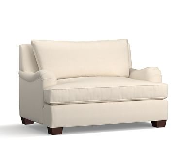 PB Comfort English Arm Upholstered Twin Armchair Sleeper, Knife Edge Polyester Wrapped Cushions, Sunbrella(R) Performance Sahara Weave Ivory
