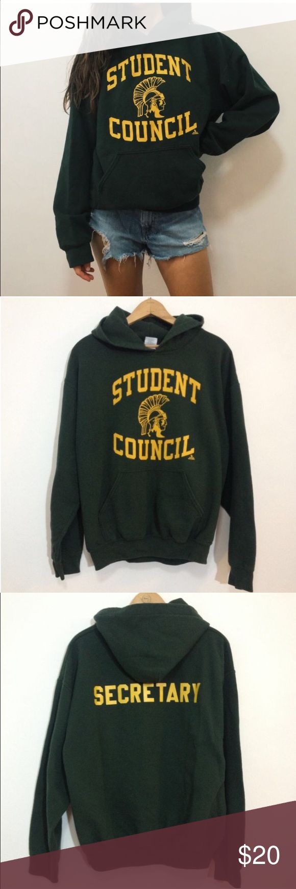 "Green High School Student  Hoodie Sweatshirt Green & Yellow High School Student Council Secretary Hoodie Sweatshirt  <<<<<<<<<<<<<<<<<<<<<<<<<<<<<<<<<<<<<<<<  *No Stains or holes, missing hoodie drawcord  Size Medium 25"" long 23"" across chest armpit to armpit  Part of the GYM CLASS DROPOUTS COLLECTION Gildan Tops Sweatshirts & Hoodies"