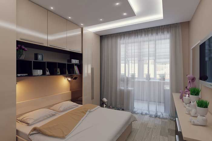 Большая кровать в спальни для девочки 12 кв. м. Фото 8