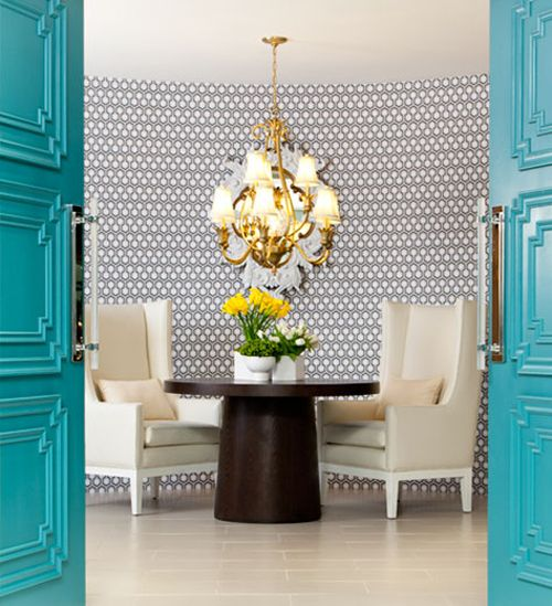 House of Turquoise:: Hinkley Lights, Blue Doors, Beautiful Interiors, Interiors Design, Turquoise Doors, Decorating, Entrance Doors, Lights Showroom, Doors Colors
