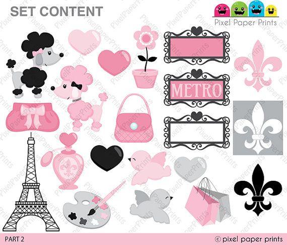 Parisian Girls Clip art and digital paper set by pixelpaperprints