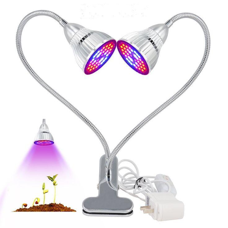 60WDualHeadPlantsLedGrow Light Bulb Clip Desk Ajustable Growing Lámpara Para Jardín Interior Bonsai