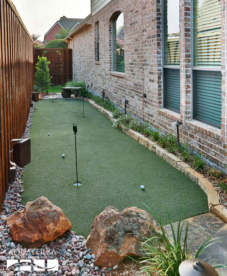 Backyard artificial putting green design and construction by AquaTerra Outdoor Environments  www.aquaterraoutdoors.com