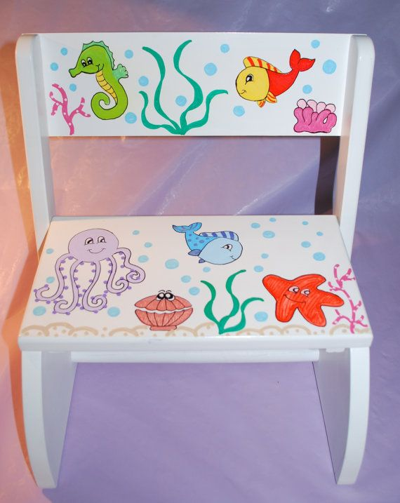 Childrenu0027s Flip Step Stool Bench - Ocean -Hand Painted and Personalized & 51 best Childrens stools images on Pinterest | Step stools ... islam-shia.org