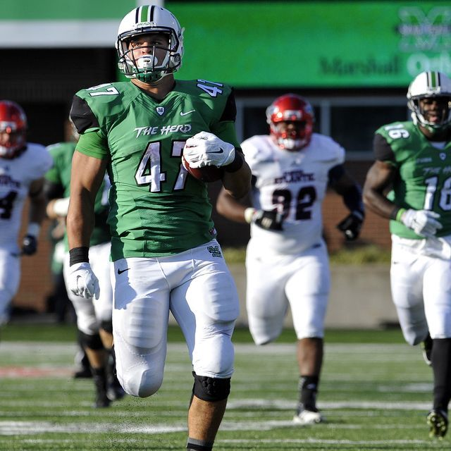 Four touchdowns by Devon Johnson helped No. 22 Marshall overcome an early deficit to stay unbeaten with a 35-16 defeat of Florida Atlantic.
