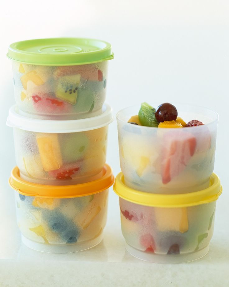 How can fresh fruit compete with ready-to-eat junk food when your little one is in a hurry? Make it easy for him to find. Toss together a colorful fruit salad, and spoon into single-serving containers. Place them front and center in the fridge, where he can't miss them.