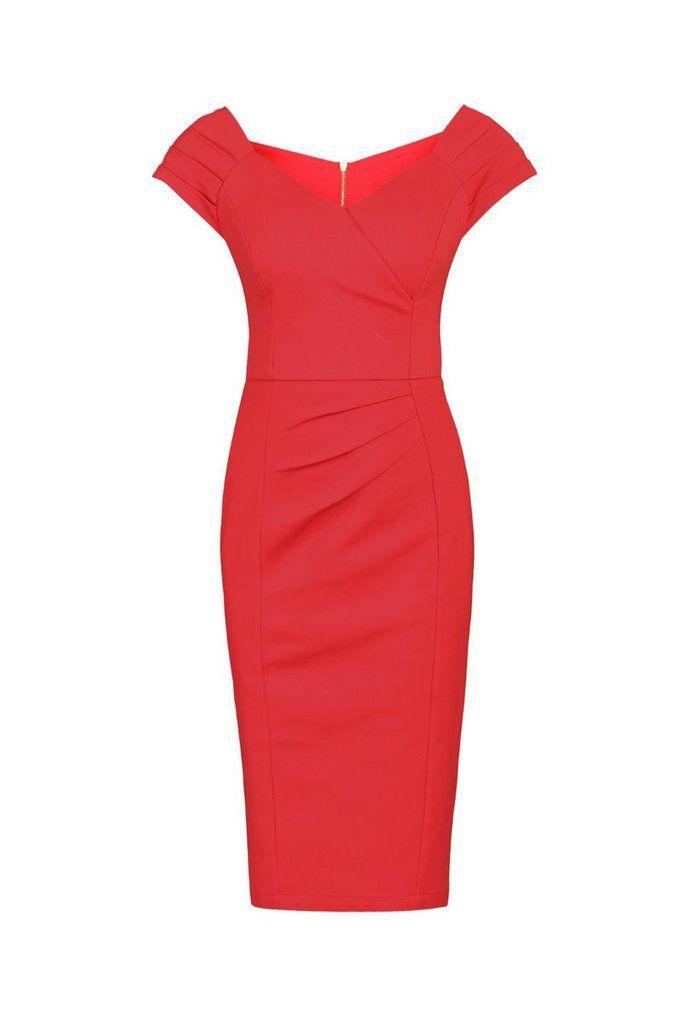 Red Panelled Shoulder V Neck Wiggle Pencil Dress