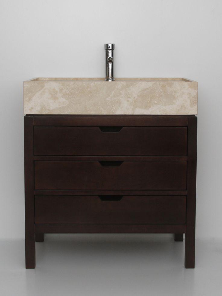 mueble de madera maciza con bacha de marmol