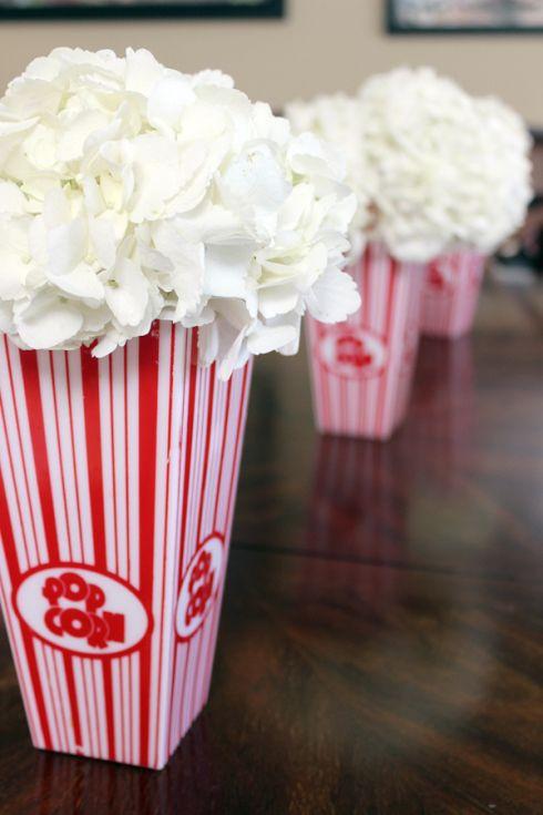 """Popcorn"" Hydrangeas for #Circus Baby Shower www.gustoandgraceblog.com      centerpiece"