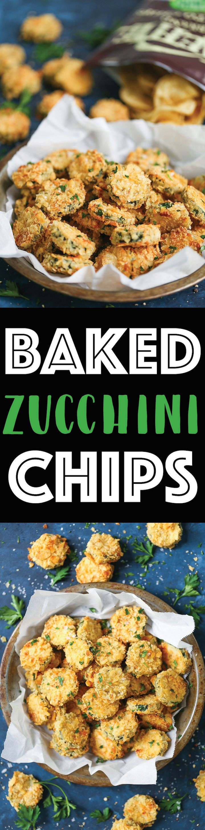 Baked Zucchini Chips - The best zucchini chips EVER! They are perfectly seasoned and perfectly crunchy and crisp even though these are completely BAKED! You will not even be able to tell the difference. Promise!