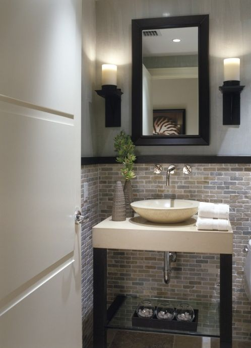 Modern Half Bath The Half Bath Pinterest Powder Basement Bathroom And Tile