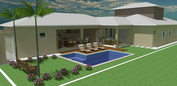 Casa em l projetos para nossa ch cara pinterest ems for Modelos de piscinas de campo