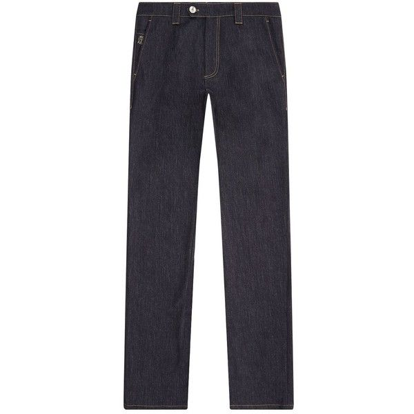 Brunello Cucinelli Denim Trousers ($945) ❤ liked on Polyvore featuring men's fashion, men's clothing, men's pants, men's casual pants, mens denim pants, mens chinos pants, brunello cucinelli mens pants and mens chino pants