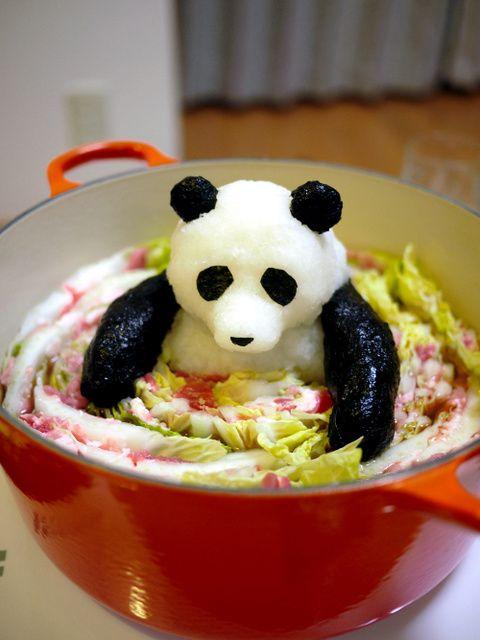 日本人のごはん:大根おろしアート Japanese meals. パンダ鍋。パンダはチベットの動物です。