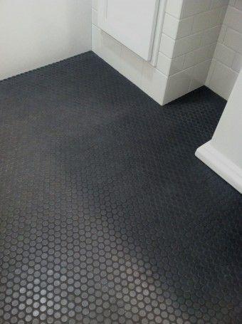 Ann Sacks Savoy Penny Mosaics Sacks Grey And Hexagons